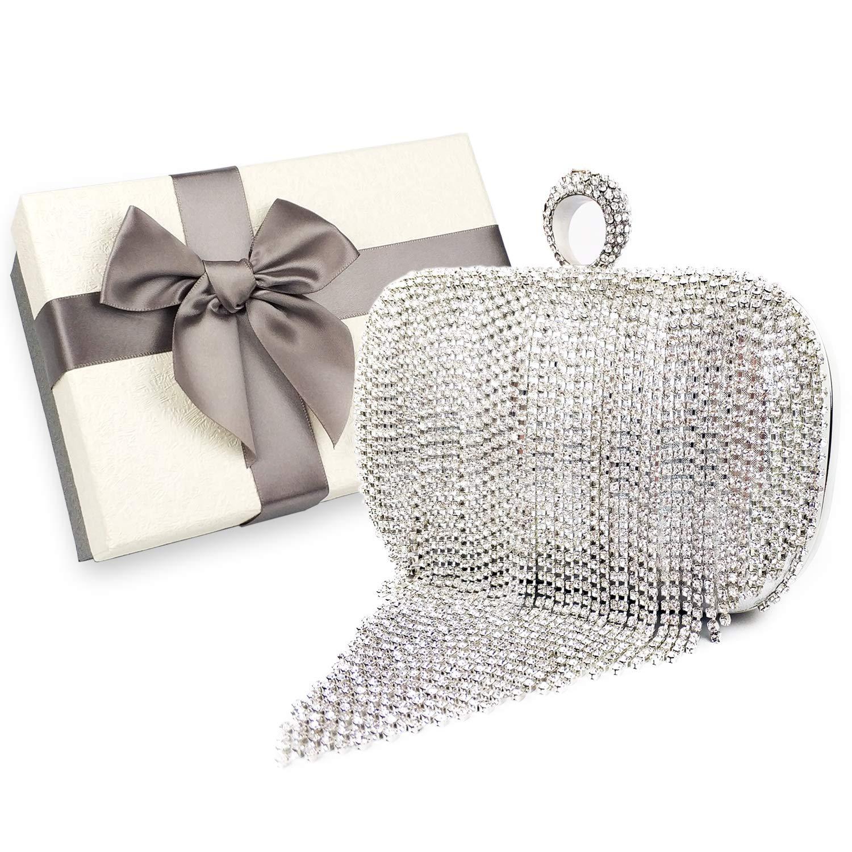 Womens Evening bag, Rhinestone Tassel Sparkling Handbag Wedding Bag, Crystal Ladies Party Clutch Purse, Packed in Gift Box (Silver- Rhinestone Tassel)