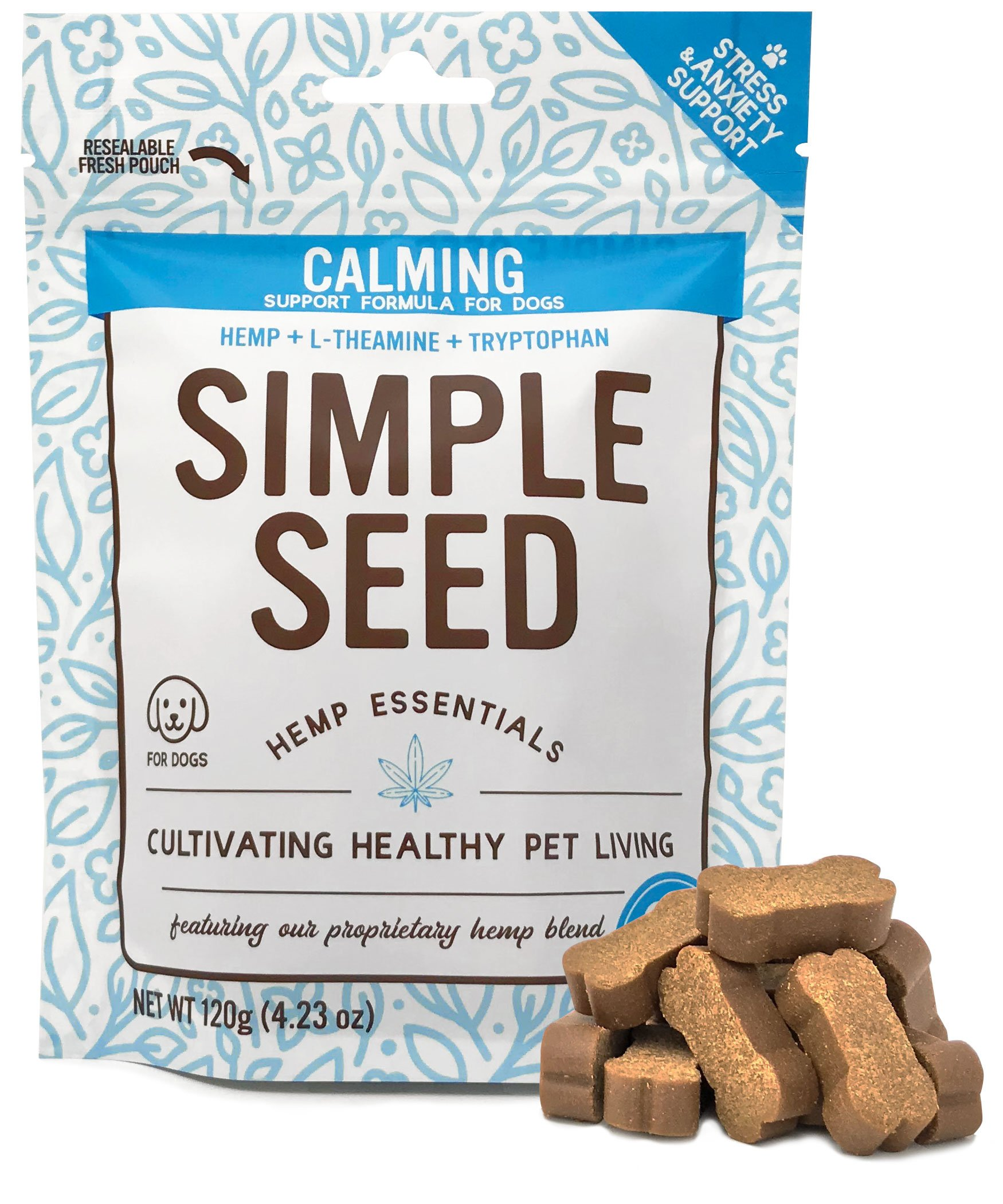 Hemp Calming Treats for Dogs with Separation Anxiety with Tryptophan, L-Theanine, and Hemp Oil by Simple Seed, 30 Soft Chews