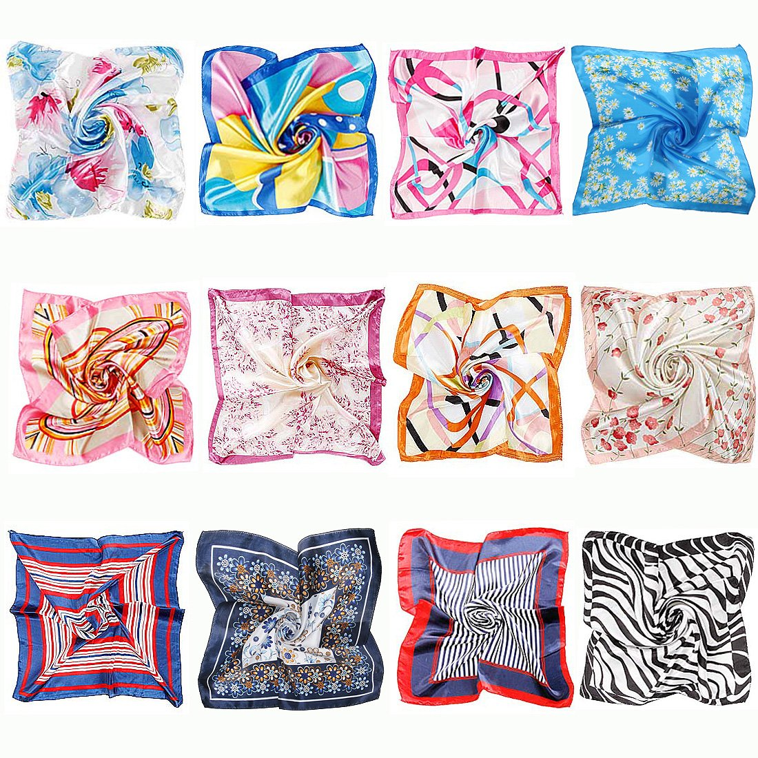 BMC 12pc Women's Silky Scarf Square Mixed Patterns & Colors Fashion Accessory Set - Floral Fun Pack