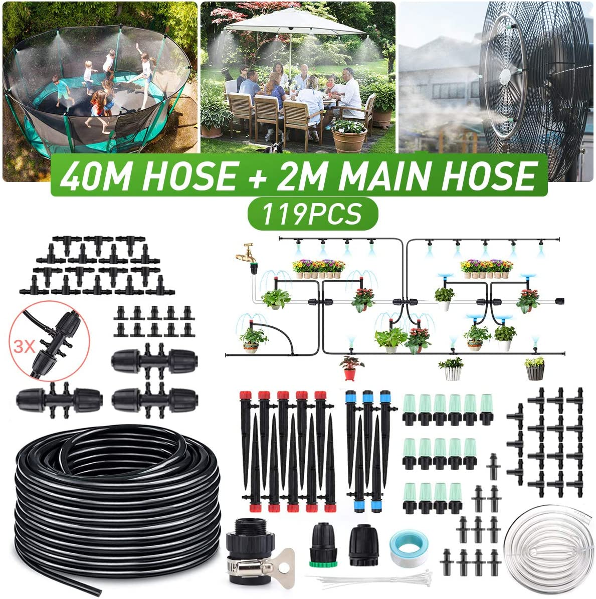 138ft Micro Drip Irrigation Kit with 2M Hose and Adjustable Nozzle Sprinkler