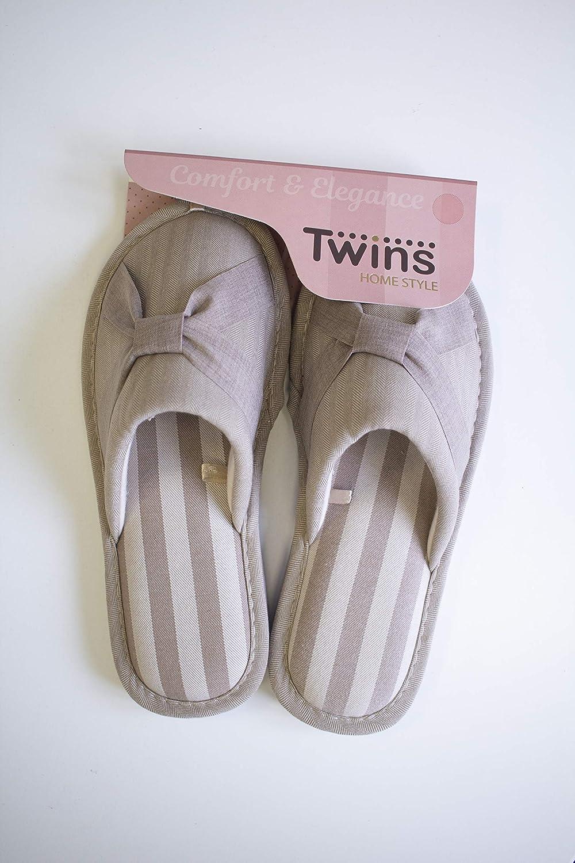 TWINS Fashion /« Venice /» Chaussons Femmes /él/égants int/érieur Pantoufles Jolies Confortables Chaudes Hiver Mules Semelle antid/érapante