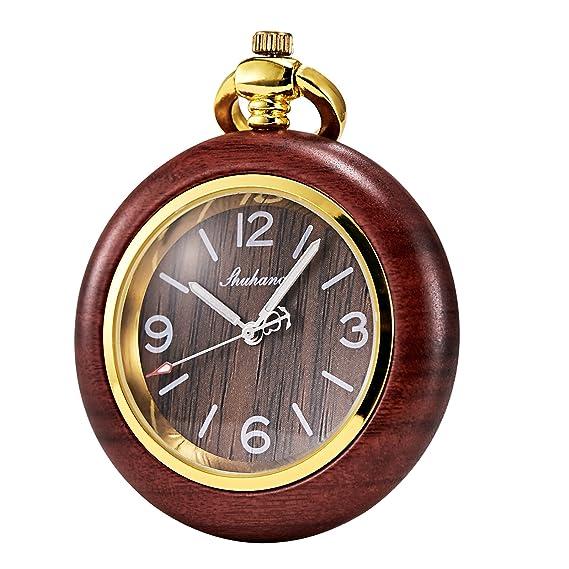 Tree weto Madera Reloj de bolsillo retro bolsillos Relojes Hombre Cuarzo Reloj Números Arábigos con cadena y caja de regalo: Amazon.es: Relojes
