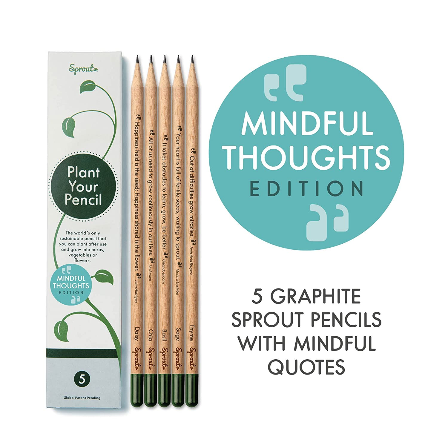 Sprout pencils - with mindful quotes | plantable graphite pencils with seeds in eco friendly wood | 5 Pack |Gift set with herbs and flowers