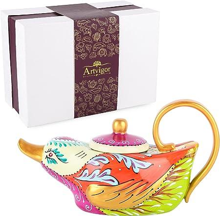 Artvigor ,Tetera de Porcelana 800 ml, cafetera Pintada a Mano, decoración Colorida Mesa de diseño de Pato: Amazon.es: Hogar