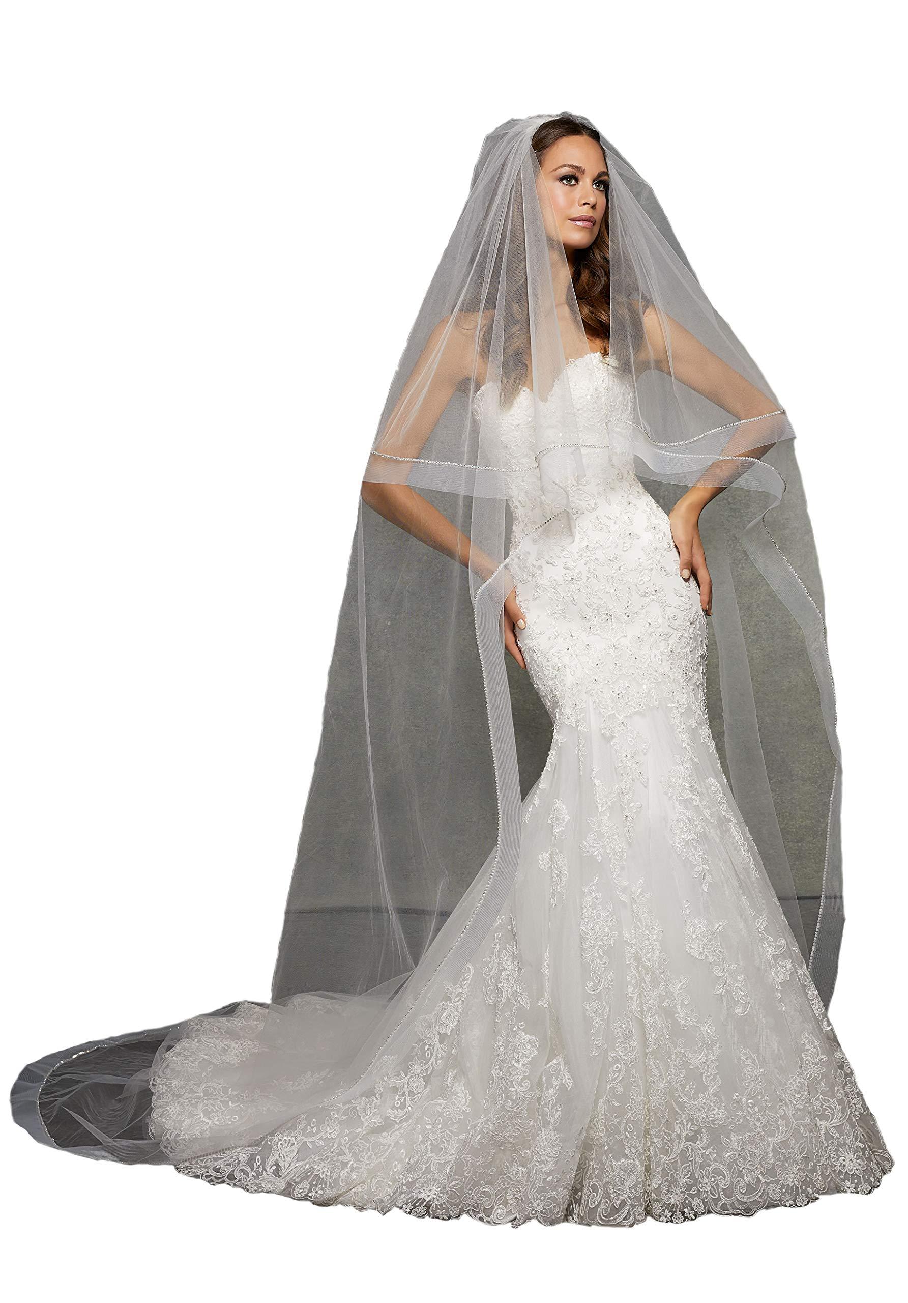 Passat Ivory XLCathedral 2T Circular Veil Organza Silk Edged with Rhinestones 2 tier cathedral wedding veil crystals VL1055