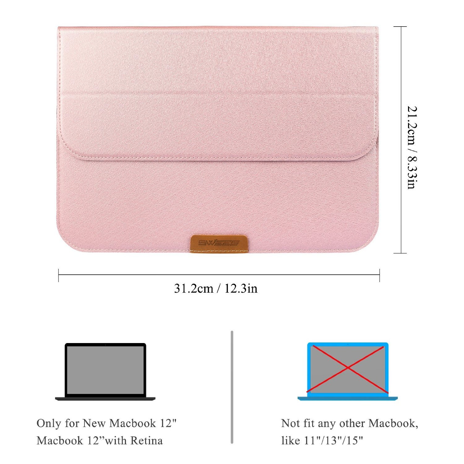 Swees Macbook 12 Inch Case Sleeve With Stand Function Woolen Felt Laptop Softcase Air Pro Retina Ipad Mini Up To 13 Apple New Ultrabook Wallet Pu Leather Cover Carrying