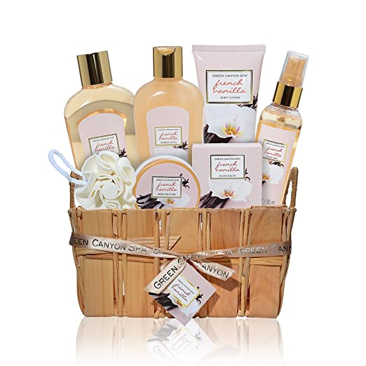 Valentine's day gifts for her, Gift Baskets for Women, Luxury French Vanilla 8 pc At Home Spa Gift Set, Best Bath and Body Gift Ideas for Her, Great Pampering, Wedding, Anniversary, Mothers Day Gifts