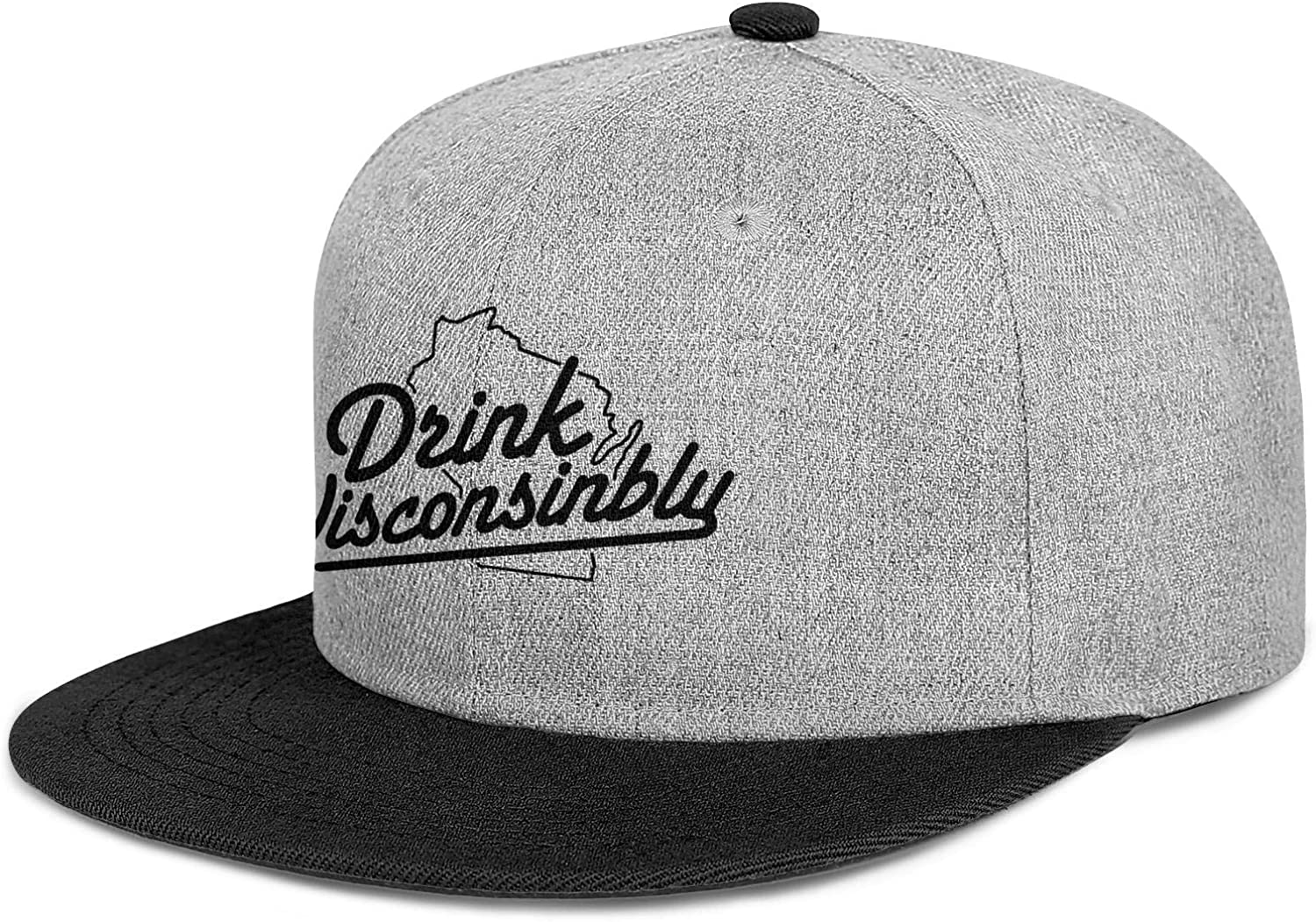 Mens Womens Trucker Hats Drink Wisconsinbly in Cute Fonts Snapback Fits Caps