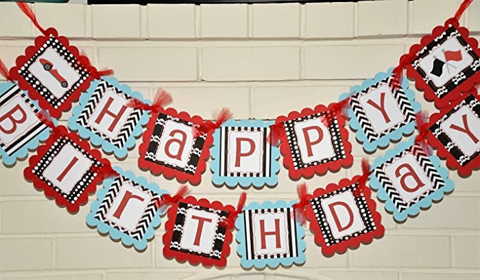Amazon Com Light Blue And Red Happy Birthday Racecar Banner