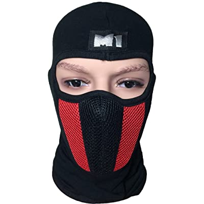 M1 Full Face Cover Balaclava Protection Filter Plain Mask - Red (BALA-FILT-RED)