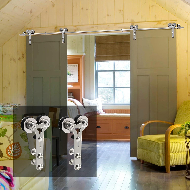 Y Style CCJH 16 FT Stainless Steel Sliding Door Hardware Kit Fit 48 Wide Door Panel Wooden and Glass Door Hardware for Double Door