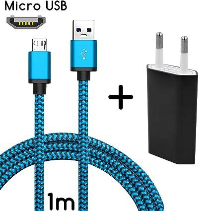 TheSmartGuard - Set 2 en 1 con Cargador y Cable de Carga Wiko Rainbow 4G (1 m / 1 m), Color Azul