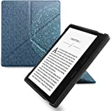 WALNEW Origami Case for 7 Inch Kindle Oasis (9th Generation - 2017 Release) Standing Cover with Auto Wake Sleep Function (7'' Kindle Oasis, Blue Flower)