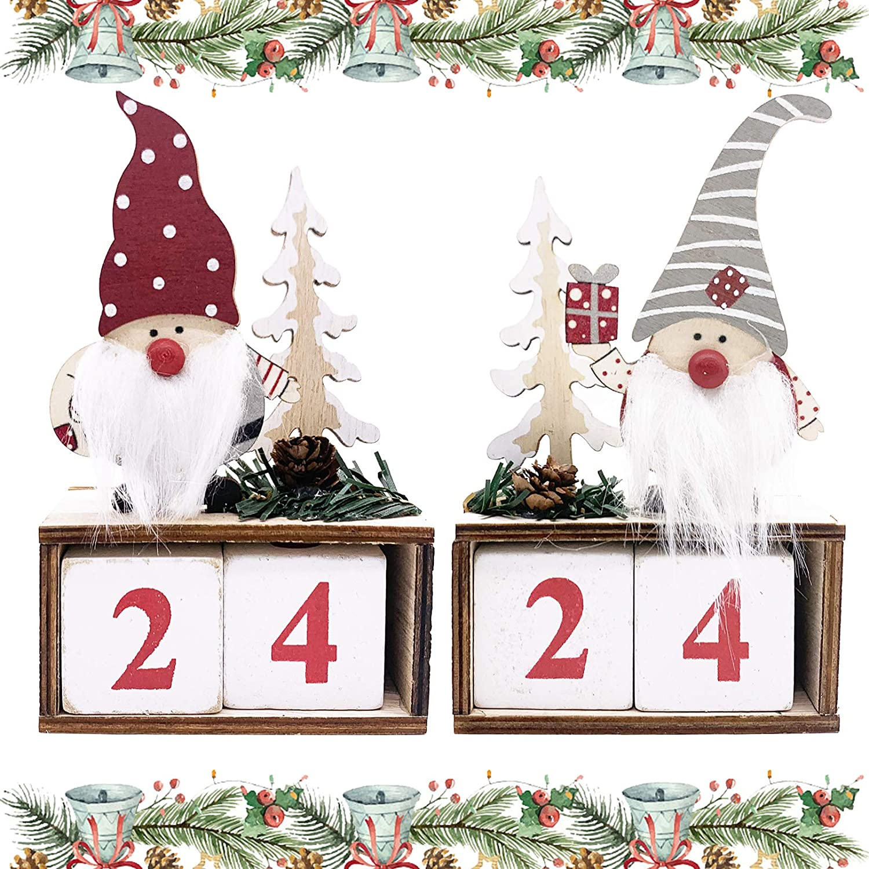 EBaokuup Christmas Gnome Calendar Wooden Block - 2 Pcs Desktop Swedish Tomte Christmas Advent Countdown Calendar for Christmas Home Office Decor