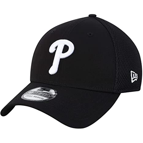 finest selection 1b7f0 55730 New Era Authentic Philadelphia Phillies Black Neo 39THIRTY Flex Hat  (Small Medium)