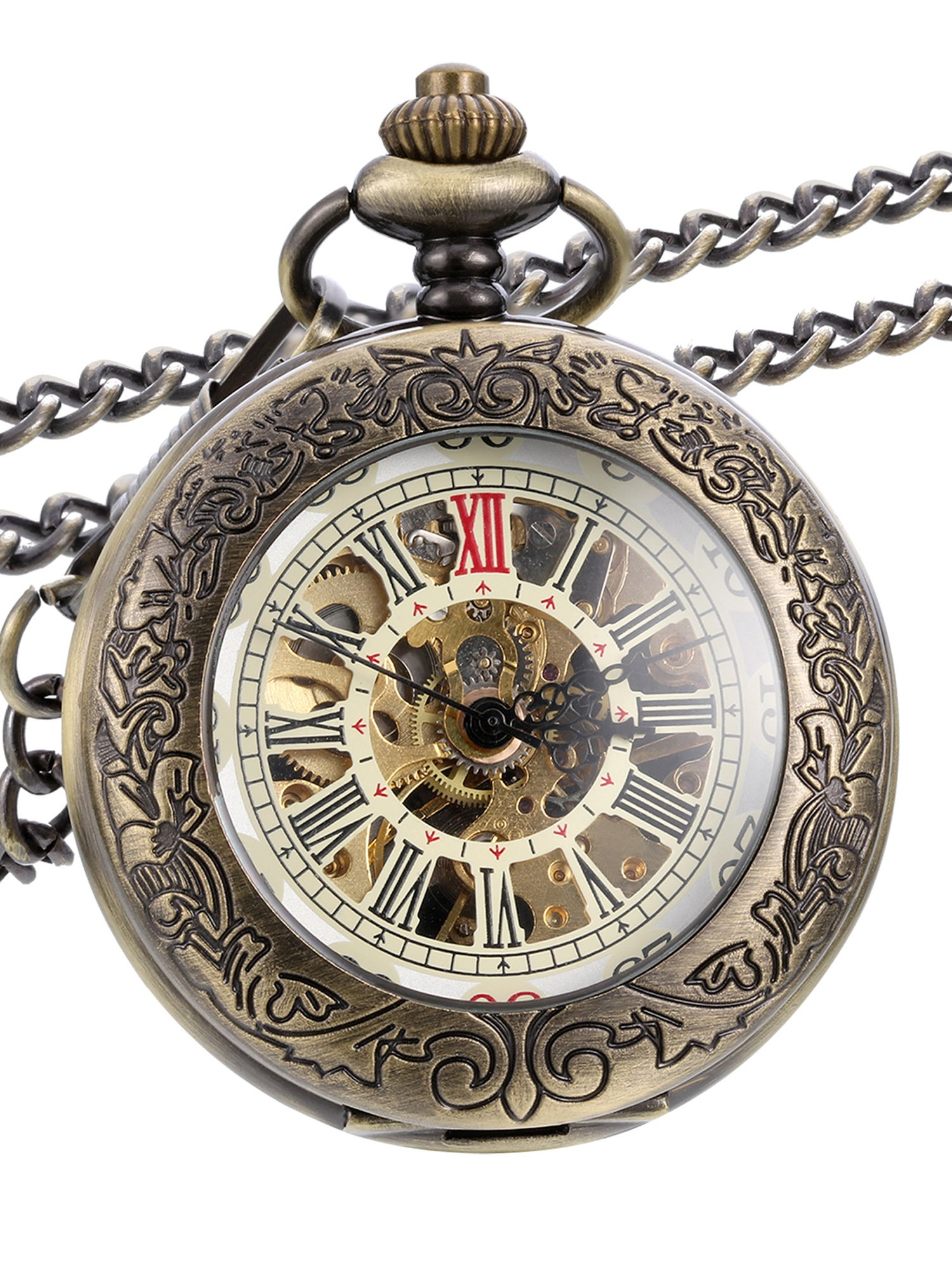 Hicarer Steampunk Classic Bronze Mechanical Pocket Watch with Chain by Hicarer