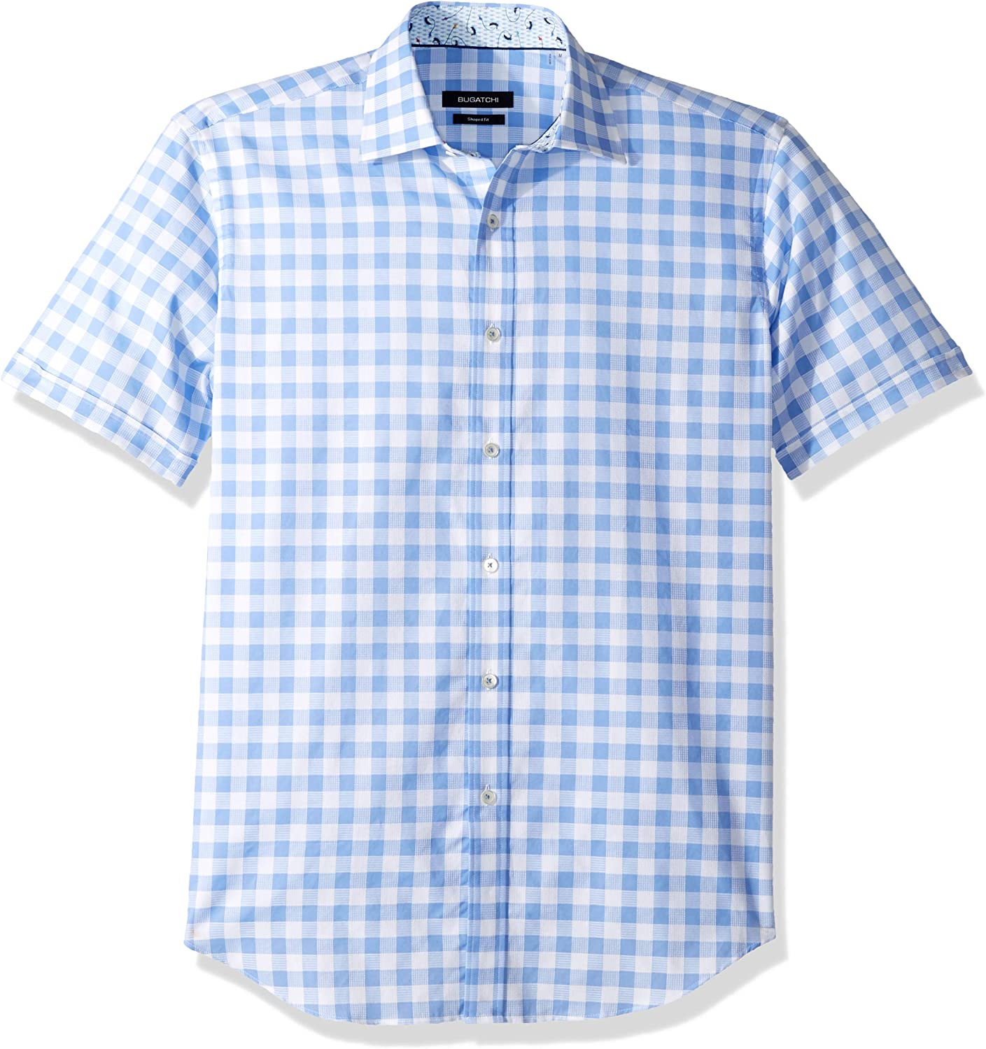 Bugatchi Mens Fitted Sky Blue Printed Spread Collar Short Sleeve Shirt