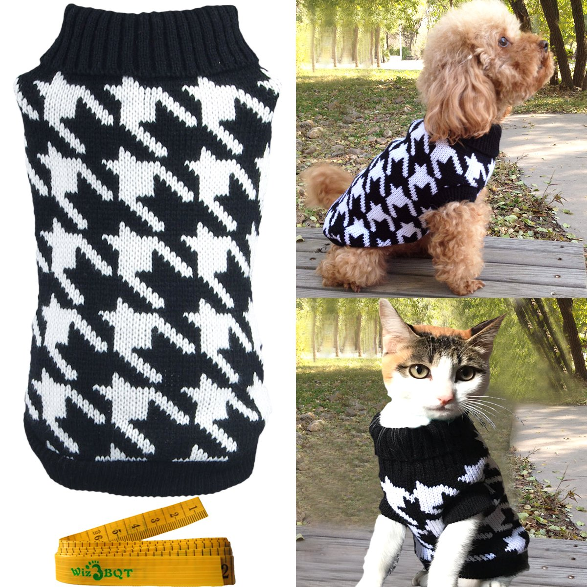 Pet Sweater Knitwear for Dogs & Cats Elegant Warm Knitted Turtleneck Houndstooth
