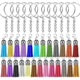 Selizo 100Pcs Key Chain Ring with Chain and Tassel Pendants Bulk for Keychain Crafts Jewelry Making