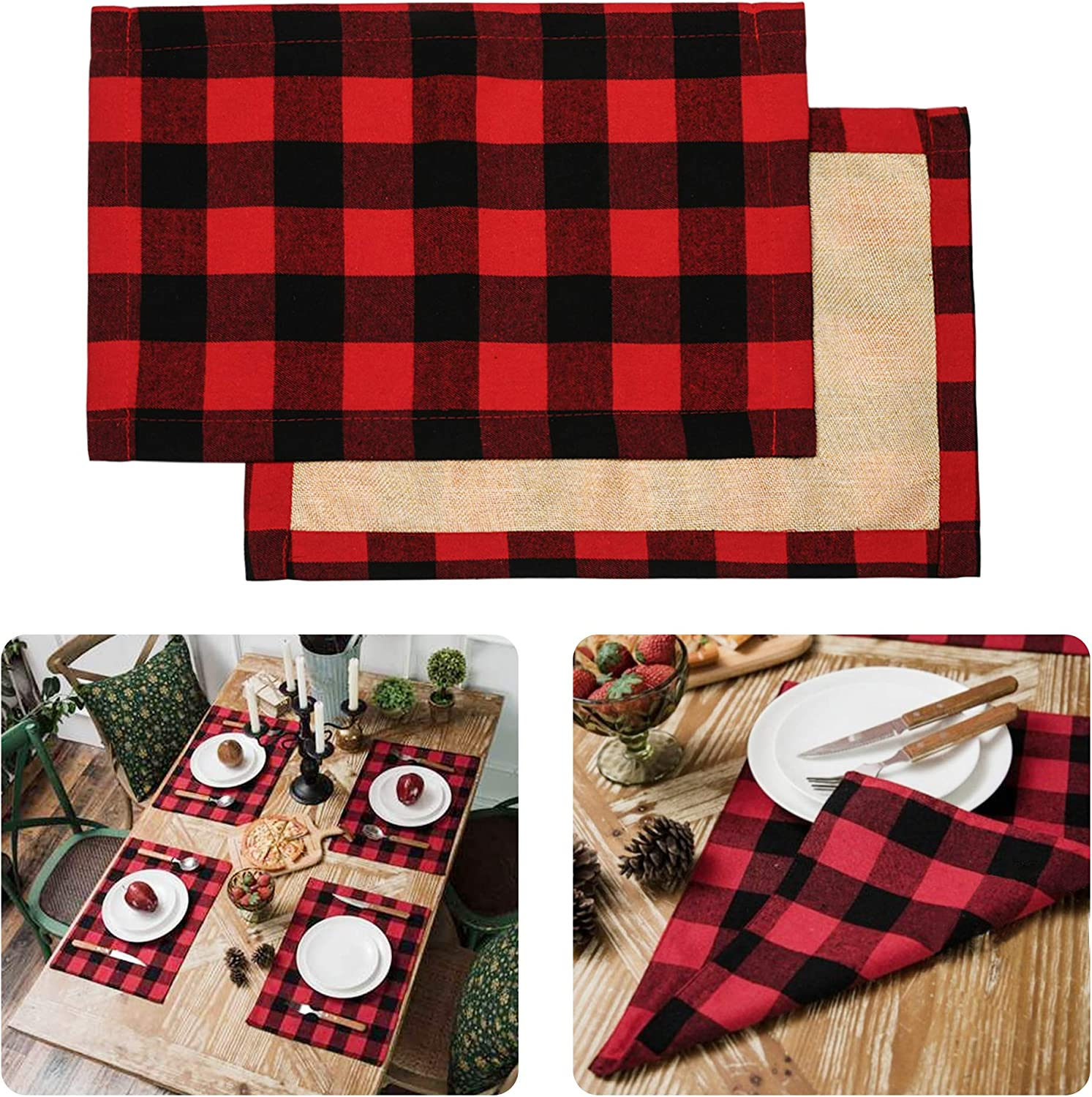 Christmas Placemats For Dining Table Red Black Buffalo Check Placemats Set Of 6 Plaid Placemats Set Farmhouse Christmas Decorations Kitchen Burlap 6 Pcs Fall HolidayTable Placemat For Dining 11x17 In: Home Improvement