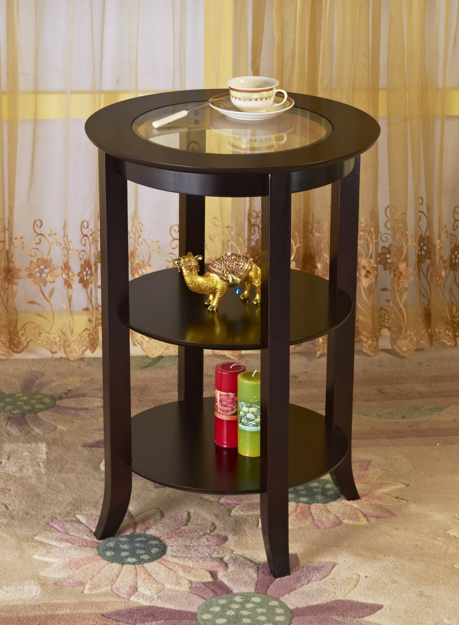 Frenchi Furniture Wood Round Side /Accent Table , Inset Glass, Two Shelves by Frenchi Home Furnishing (Image #3)