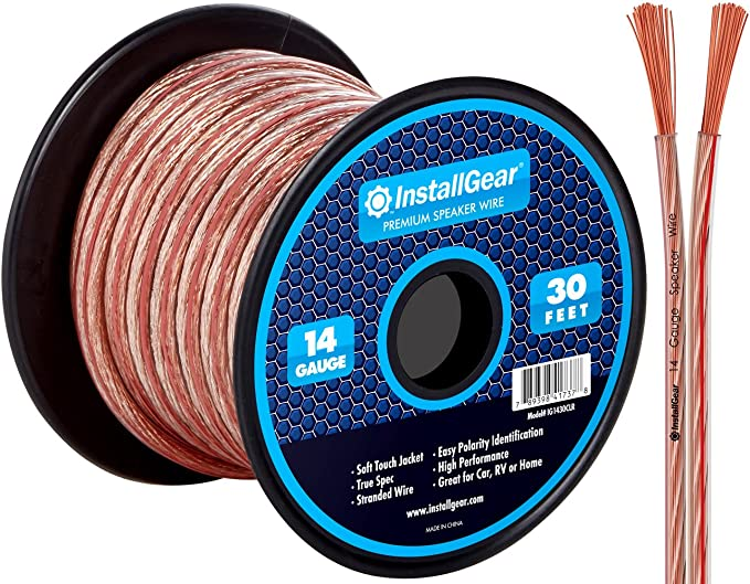 GearIT Pro Series 14 AWG Gauge Speaker Wire Cable 100 Feet // 30.48 Meters Great Use for Home Theater Speakers and Car Speakers Black 14AWG Speaker Wire