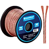 InstallGear 14 Gauge AWG 30ft Speaker Wire True Spec and Soft Touch Cable - Clear