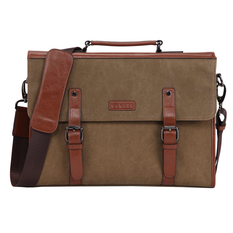 Banuce 13.3 inch Laptop Messenger Bag for Men Vintage Canvas Tote Briefcase Satchel Shoulder Bag