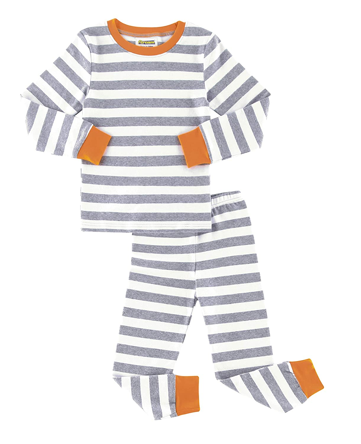 Fiream Girls Boys Pajamas Set 100% Cotton Stripe Long Sleeve Kids Sleepwear for Girls and Boys Size 12 Month-7 Years Mset005