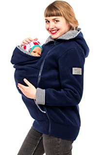 GoFuture Tragejacke für Mama und Baby 4in1 Känguru Jacke Umstandsjacke Ovita Sweatstoff GF2067XA in Marine mit Ankern auf Marine