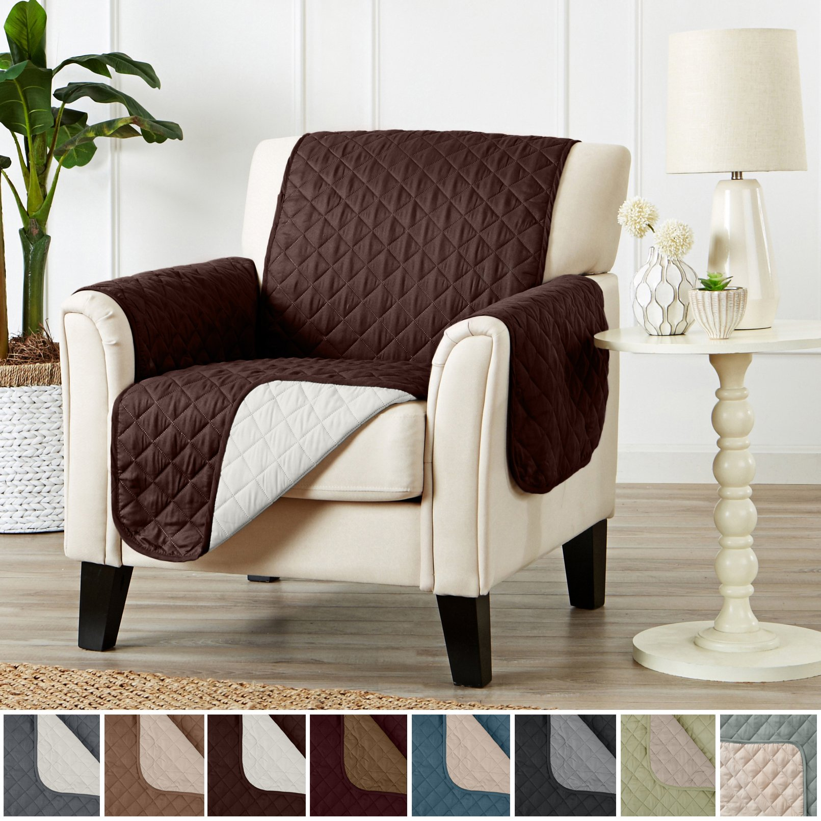 Home Fashion Designs Deluxe Reversible Quilted Furniture Protector and PET Protector. Two Fresh Looks in One. Perfect for Families with Pets and Kids Brand. (Chair - Chocolate/Flax)