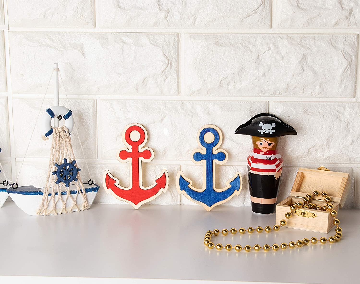 24-Pack Unfinished Wood Anchor Cutouts Nautical Party Decoration 3 x 3.875-Inch Anchor Wood Shapes for Kids DIY Craft