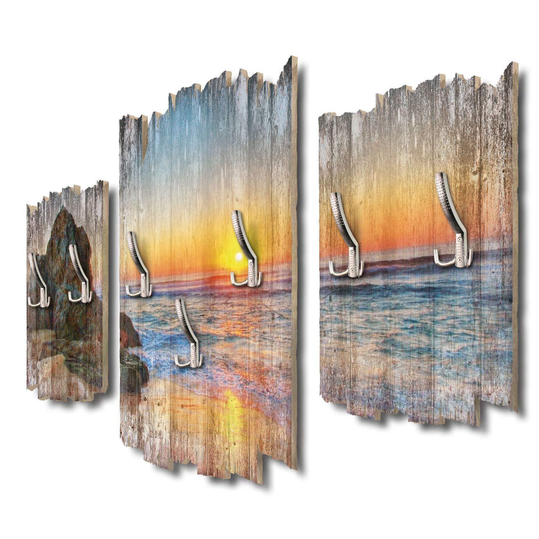 Kreative Feder Felsen am Strand Designer Wandgarderobe Flurgarderobe Wandpaneele 95 x 60 cm aus MDF-Holz DTGH008