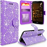 LG Stylus 2 Case, LG G Stylo 2 Case, Cellularvilla [Slim Fit] [Card Slot] Premium Pu Leather Wallet Case [Wristlet] Flip Protective Stand Cover For LG G Stylo 2 / LG Stylus 2 LS775 (Purple Glitter)