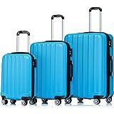 2080 TSA-Schloß Zwillingsrollen 3 tlg. Reisekofferset Koffer Kofferset Trolley Trolleys Hartschale in 12 Farben (Türkis)