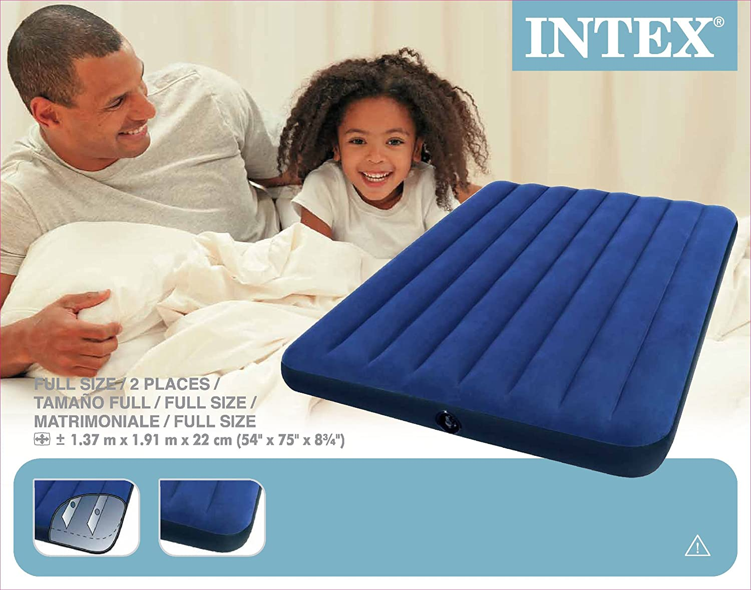 Amazon.com : Intex Classic Downy Airbed, Full : Camping Air Mattresses : Sports & Outdoors