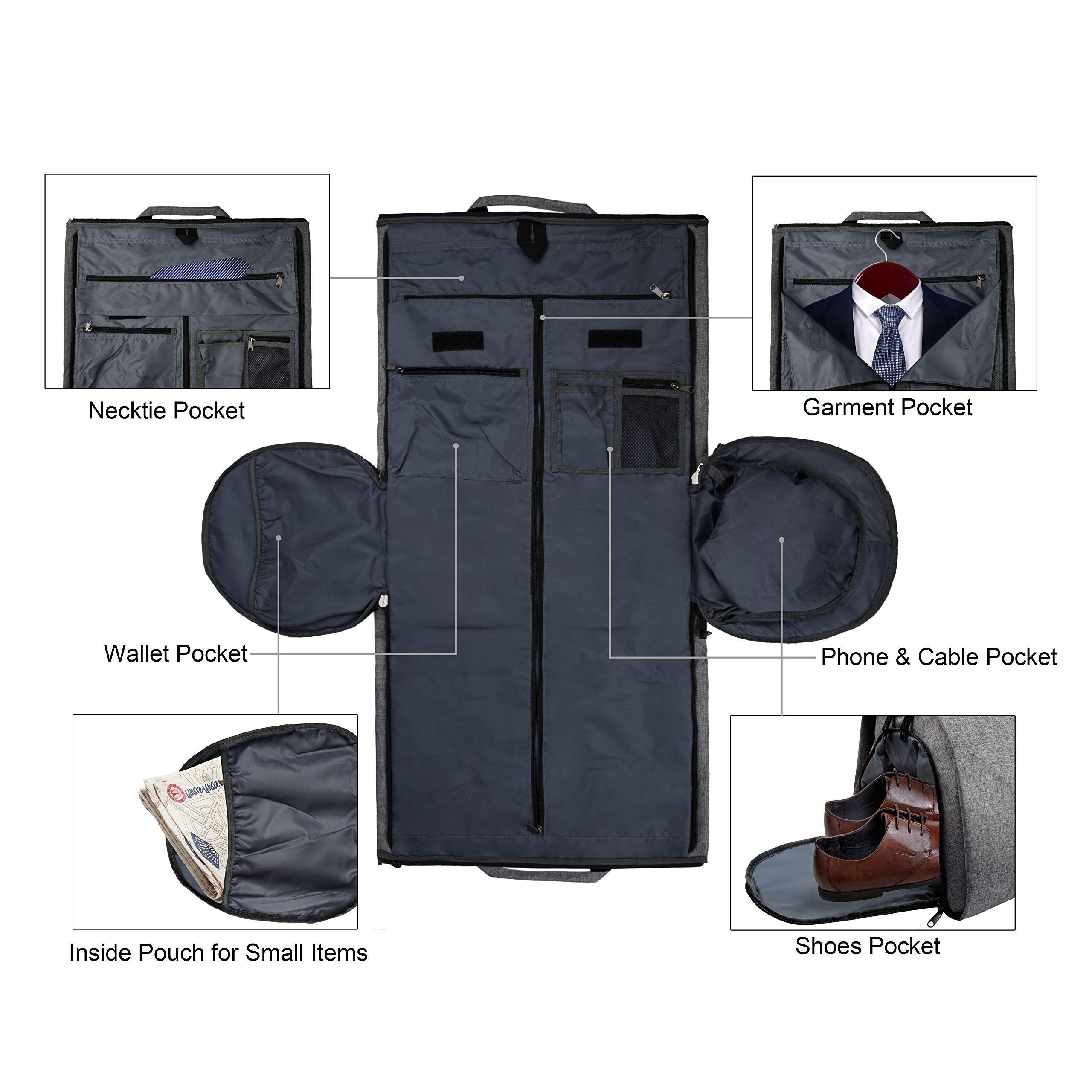 2 in 1 Carry-on Suit Garment Bag Business Trip Travel Weekend Duffle Bag Convertible Foldable