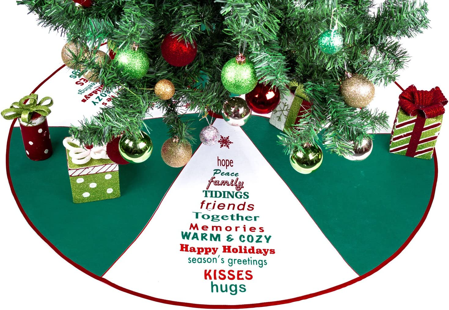 Green & White Tree Skirt with Greetings - 36