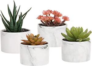 MyGift Mini Artificial Succulent Plants in Marbled Ceramic Planters, Set of 4