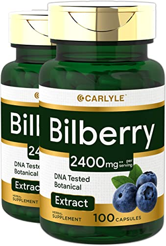 Bilberry Fruit Extract 2400mg 200 Capsules Non-GMO, Gluten Free Supplement by Carlyle