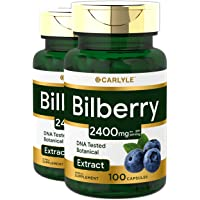 Carlyle Bilberry Extract 1200 mg 200 Capsules - Supports Eye Health - Non-GMO and Gluten Free Supplement