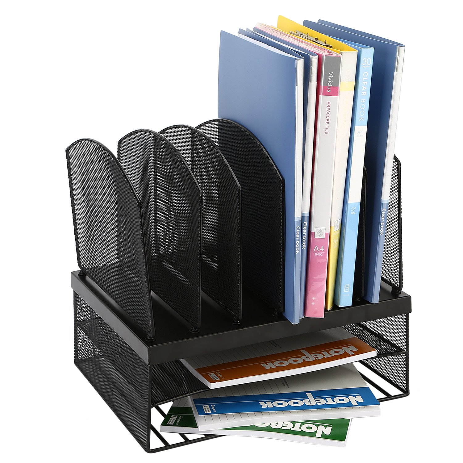 DRROT Mesh Desktop Organizer with 6 Vertical/2 Horizontal Sections, Black