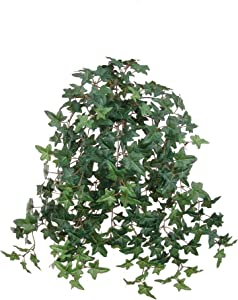 """Larksilk Cascading English Ivy - Artificial Ivy Vine for Hanging Basket Decor, Window Boxes, Indoor Decoration, Outdoor Planter - 20"""" Faux Plant with 274 Green Leaves"""
