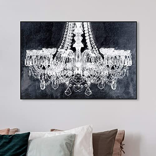 The Oliver Gal Artist Co. Fashion and Glam Framed Wall Art Canvas Prints 'Breakfast at Tiffany's' Chandeliers Home D cor