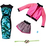 Barbie Fashions 2-Pack Clothing Set, 2 Outfits Doll Include Pink Sport Jacket, Gray Shorts, Blue Tropical Print Dress & 2 Acc