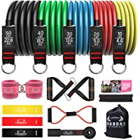 COOBONS Resistance Bands Set, Including 5 Stackable Exercise Bands with Door Anchor, 5 Loop Bands, 2Ankle Straps…