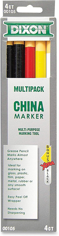 Dixon Phano China Marker, Black/Red/White/Yellow, Bonus Black (00105) : Office Products