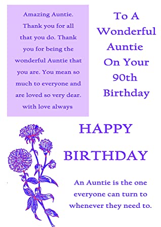 Auntie 90th Birthday Card With Removable Laminate