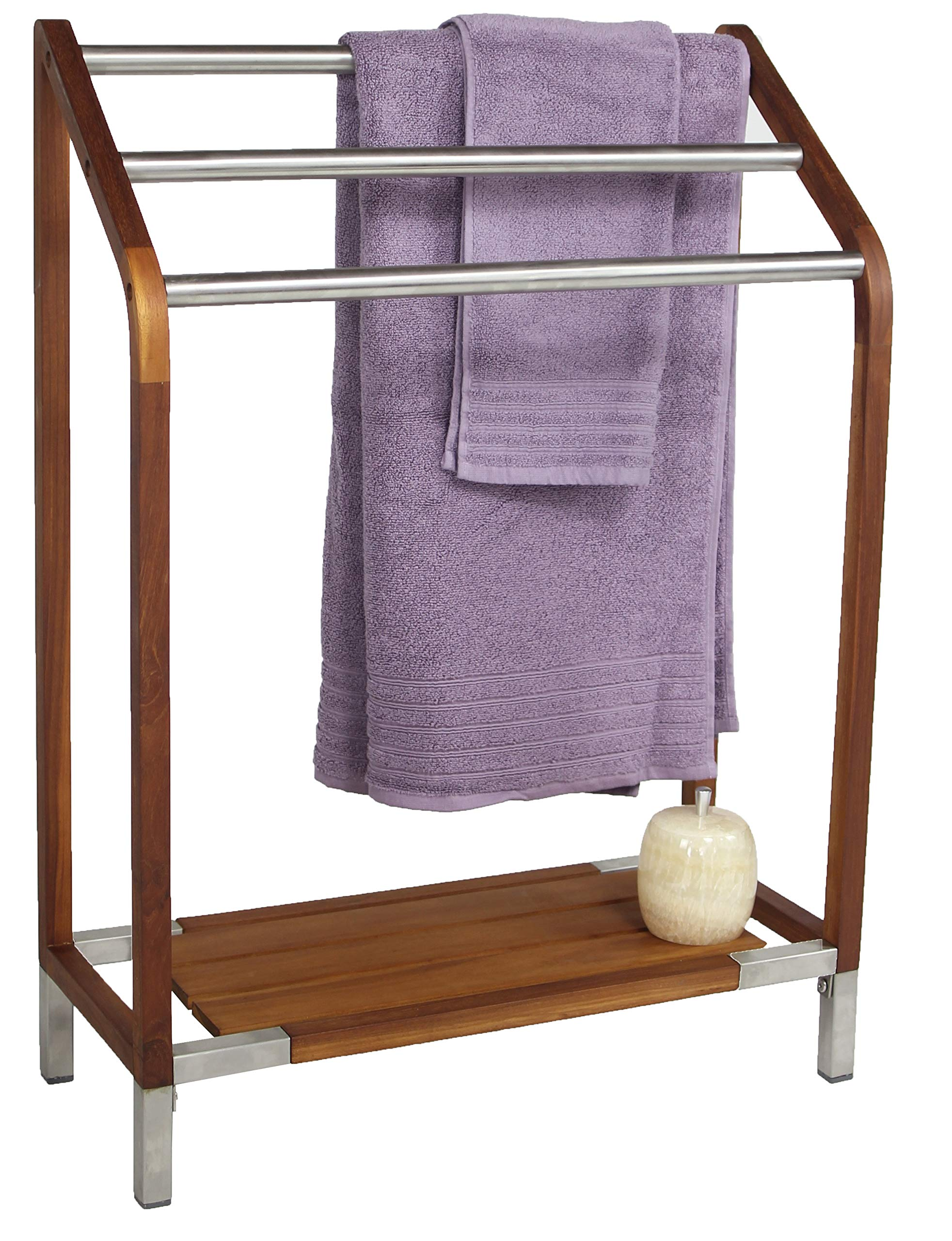 AquaTeak Scratch & Dent - Sula Teak & Stainless Steel Towel Stand