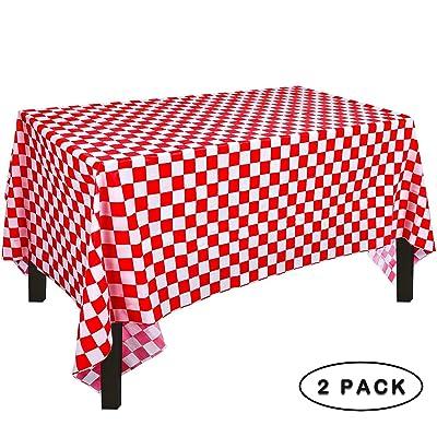 Yooyee Manteles Mesa Rectangular, 2 Paquetes Manteles de Plástico, Rojos y Blancos Enrejado, 137 x 274cm Desechables Manteles, Restaurante de Boda Banquete Decoración: Juguetes y juegos
